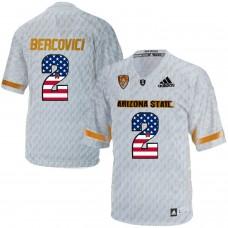 2016 US Flag Fashion Men Arizona State Sun Devils Mike Bercovici 2 Desert Ice College Football Jersey  White