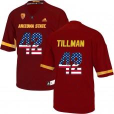 2016 US Flag Fashion Men Arizona State Sun Devils Pat Tillman 42 College Football Jersey  Maroon