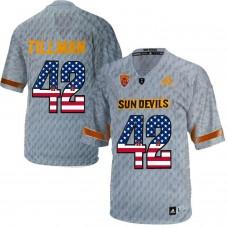 2016 US Flag Fashion Men Arizona State Sun Devils Pat Tillman 42 Desert Fuel  College Football Jersey  Grey