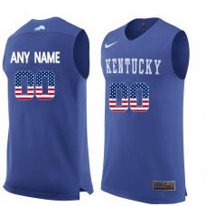 2016 US Flag Fashion Men Kentucky Wildcats Customized  College Basketball Jersey  Royal Blue