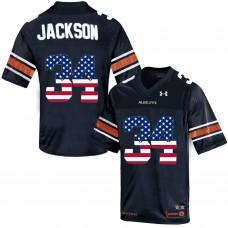 2016 US Flag Fashion Men Under Armour Bo Jackson 34 Auburn Tigers College Football Throwback Jersey  Navy Blue