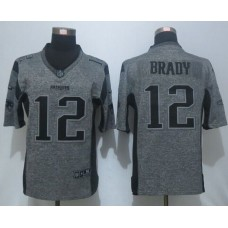 2016 New Nike New England Patriots 12 Brady Gray Men's Stitched Gridiron Gray Limited Jersey