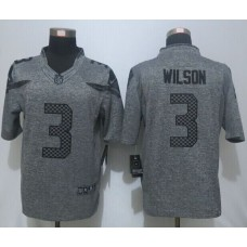 2016 New Nike Seattle Seahawks 3 Wilson Gray Men's Stitched Gridiron Gray Limited Jersey.