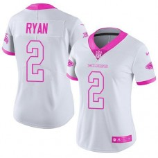 2016 Nike  Atlanta Falcons 2 Matt Ryan White Pink Women Stitched NFL Limited Rush Fashion Jersey