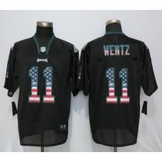 2016 Philadelphia Eagles 11 Wentz USA Flag Fashion Black New Nike Elite Jerseys