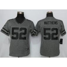 2016 Women New Nike Green Bay Packers 52 Matthews Gray Stitched Gridiron Gray Limited Jersey