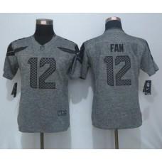 2016 Women New Nike Seattle Seahawks 12 Fan Gray Men's Stitched Gridiron Gray Limited Jersey