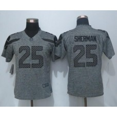 2016 Women New Nike Seattle Seahawks 25 Sherman Gray Stitched Gridiron Gray Limited Jersey