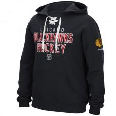 2016 NHL Chicago Blackhawks Reebok Stitch Em Up Lace Hoodie - Black
