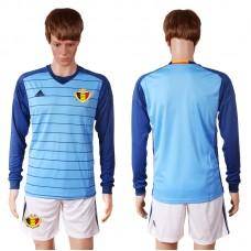 2016 Europe Belgium blue goalkeeper long sleeves soccer jerseys