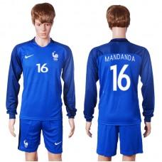 2016 European Cup France home long sleeve 16 Mandanda Blue Soccer Jersey