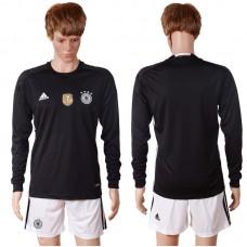 2016 European Cup Germany black goalkeeper long sleeves Blank Soccer Jersey