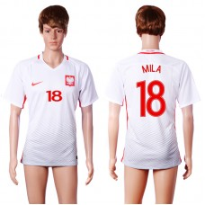 2016 European Cup Poland home 18 MILA White AAA+ Soccer Jersey