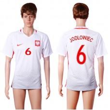2016 European Cup Poland home 6 JODLOWIEC White AAA+ Soccer Jersey