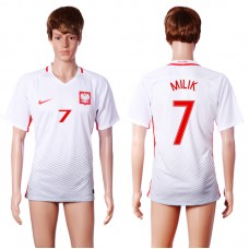 2016 European Cup Poland home 7 MILIK White AAA+ Soccer Jersey