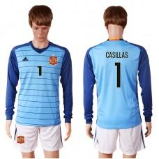 2016 European Cup Spain blue goalkeeper long sleeves 1 CASILLAS Soccer Jersey