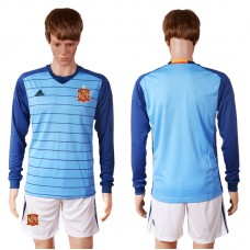 2016 European Cup Spain blue goalkeeper long sleeves Blank Soccer Jersey