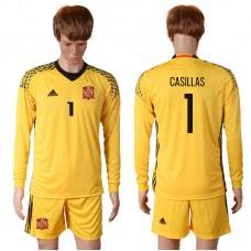 2016 European Cup Spain yellow goalkeeper long sleeves 1 CASILLAS Soccer Jersey