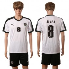 European Cup 2016 Austria away 8 Alaba white soccer jerseys