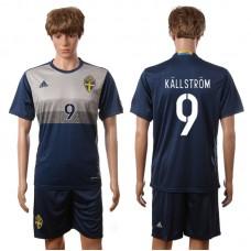 European Cup 2016 Sweden away 9 Kallstrom blue soccer jerseys