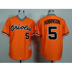 MLB Baltimore Orioles 5 Brooks Robinson Orange 1975 Jerseys