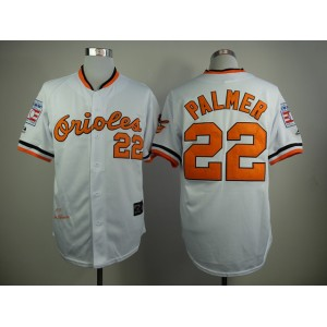 MLB Baltimore Orioles 22 Palmer White 1970s Throwback with Hall of Fame Patch Jersey